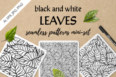 Black and white leaves seamless patterns set