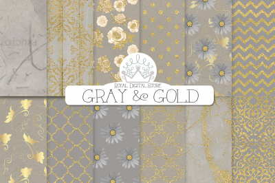 GRAY and GOLD digital paper