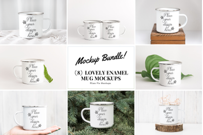 Mockup Bundle PSD smart mug enamel tin camp mugs