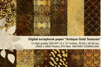 Antique gold textures, Luxuryous, patterned digital paper.