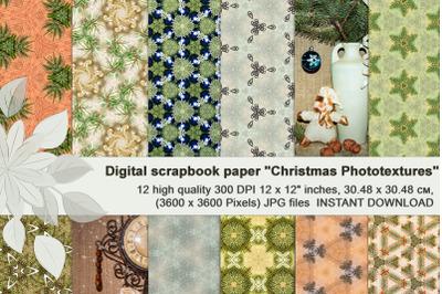 Green-beige vintage Christmas photographic digital textures.