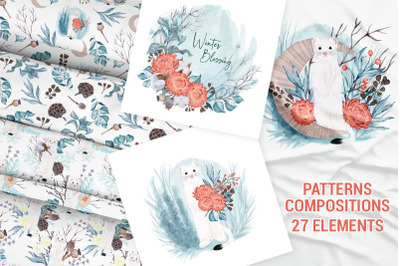 Winter nature pack. Patterns. Premade compositions. Wild animals
