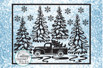 Christmas Truck with Trees Winter scene glass block sign svg pdf desig