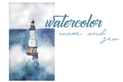 watercolor landscape, ocean and wave and lighthouse