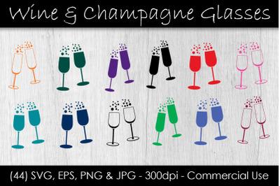 Wine & Champagne Glass SVG Bundle