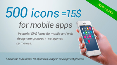 500 icons for mobile apps