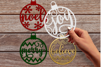 Papercut Christmas Word Ornaments | SVG | PNG | DXF