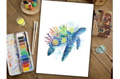 Turtle Painting, Art Print, Animal Watercolour Paintings, Colourful An