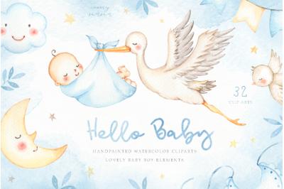 Hello Baby Blue Watercolor Clip Arts