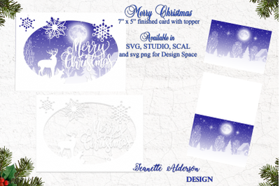 7x5 oval cutting file Merry Christmas card with topper