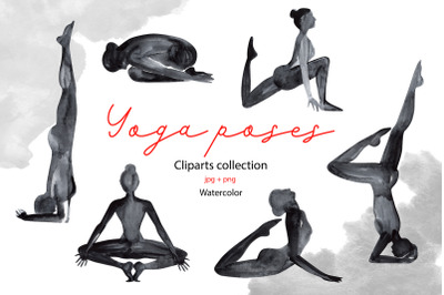 Watercolor yoga poses