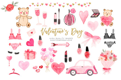 Valentines Day Cliparts, Pink Watercolor Heart Clipart,