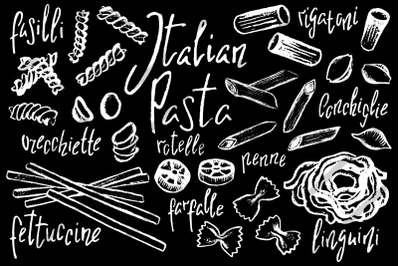 Italian Pasta by White Chalk Vector Clipart