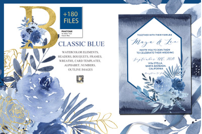 Classic Blue. Large Watercolor floral collection.