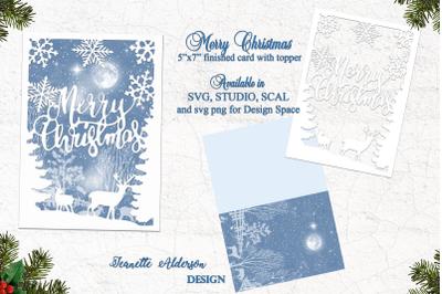 5 x 7 Merry Christmas Reindeer and Snowflake Christmas Card