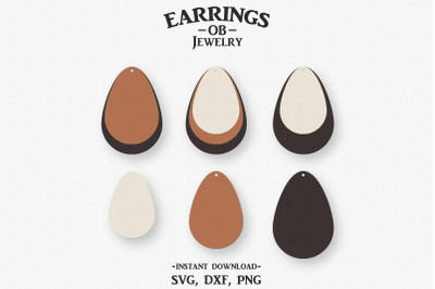 Earring Svg, Stacked Earrings, Teardrop, Cut File