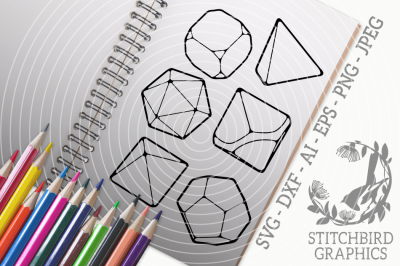 Roleplaying Dice Bundle SVG, Silhouette Studio, Cricut, Eps