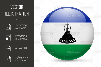 Round glossy icon of Lesotho