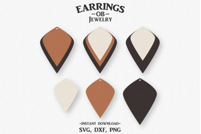 Earring Svg, Stacked Earrings, Leaf, Teardrop, Cut File