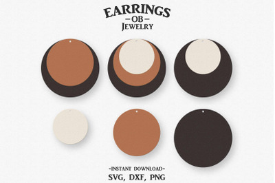 Circle Earring Svg, Stacked Earrings, Cut File