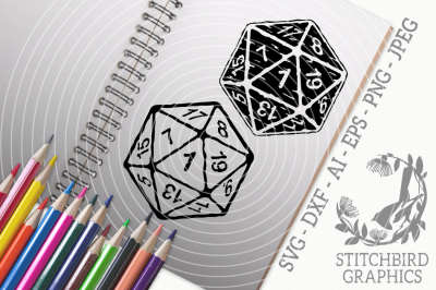 D20 1 distressed twin pack SVG, Silhouette Studio, Cricut
