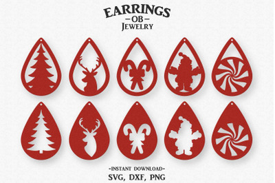 Christmas Earring Svg, Set, Stacked, Teardrop, Cut File