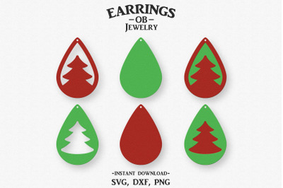 Christmas Tree Earring Svg, Stacked, Teardrop, Cut File