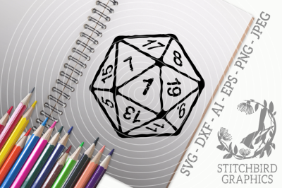 D20 Critical Fail White Distressed SVG DXF, Instant Download, Stitchbi