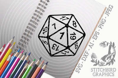 D20 Critical Fail White SVG DXF, Instant Download, Stitchbird Graphics