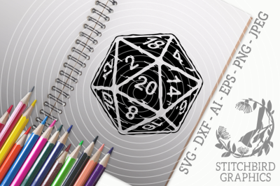 D20 Natural 20 White Distressed SVG DXF, Instant Download, Stitchbird