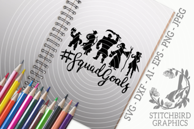 Squad Goals SVG DXF, Role Playing, Instant Download, Stitchbird Graphi