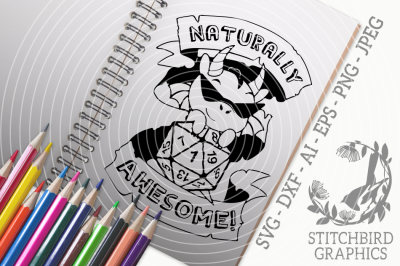 Naturally Awesome Dragon SVG DXF, Dungeons and Dragons, Stitchbird