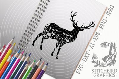 Floral Meadow Stag SVG DXF, Instant Download, Stitchbird Graphics