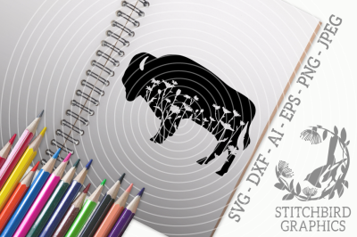 Floral Meadow Bison SVG DXF, Instant Download, Stitchbird Graphics