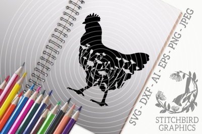 Floral Meadow Hen SVG DXF, Instant Download, Stitchbird Graphics
