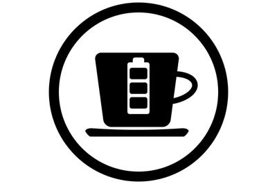 Coffee battery black icon