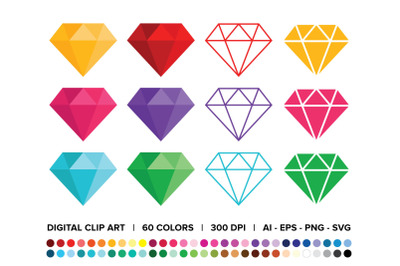 Diamond Clip Art Set