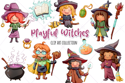 Playful Witches Fantasy Clip Art