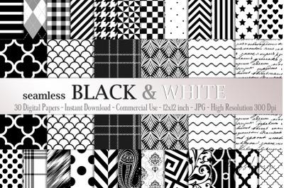 30 Seamless Black & White Basic Common Home Decor Patterns