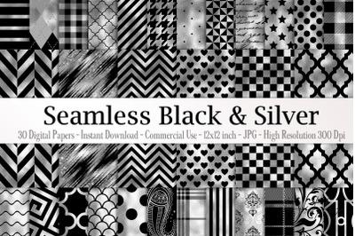 30 Seamless Black Silver Foil Basic Home Decor Print Pattern