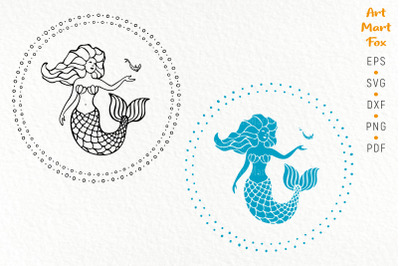 Singing mermaid with a fish, cut template. Linear contour and silhouet