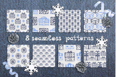 8 hand drawn seamless patterns with Christmas gifts