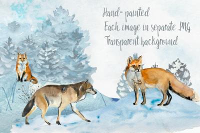 Watercolor Winter Woodland Clip Art Set