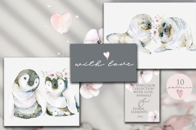 With love. Watercolor collection