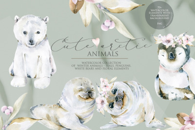 Cute arctic animals. Watercolor collection