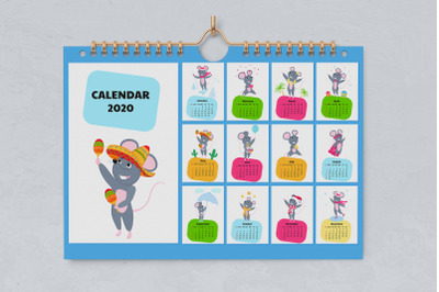 Funny mouse. Cute rats. Wall and desk calendars for 2020