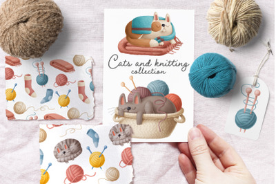 Cats and knitting clipart