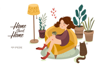 Hygge home Girl and cat