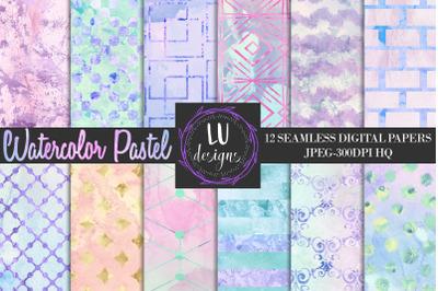 Watercolor Pastel Digital Papers, Watercolor Seamless Textures