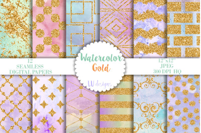 Watercolor and Gold Digital Papers, Rainbow Scrapbook Backgrounds